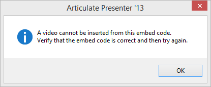 Error: A Video Cannot Be Inserted from This Embed Code