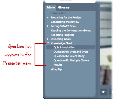 Question List Doesn't Show When a Quiz Is Embedded in Articulate